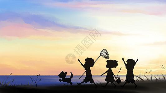 海边晨练图片