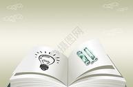 商业灯泡和钱的概念图图片