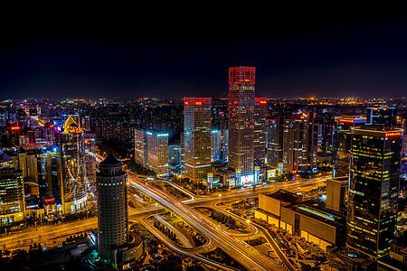 北京城市交通立交桥夜景图片