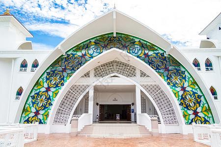 世界唯一海上清真寺,美轮美奂图片