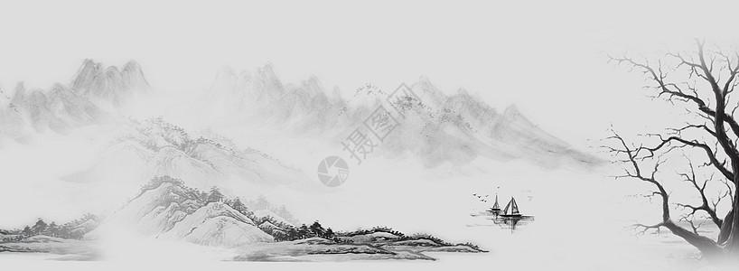 水墨banner背景图片