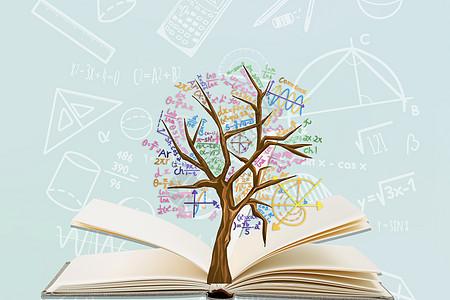 书上悬浮的大树图片