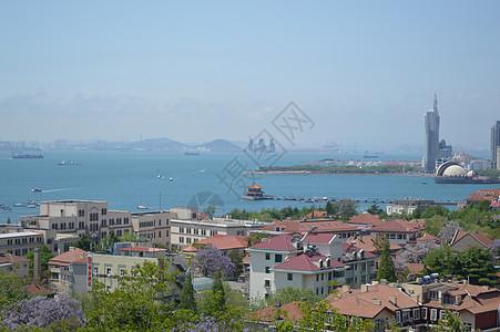 俯瞰青岛栈桥图片