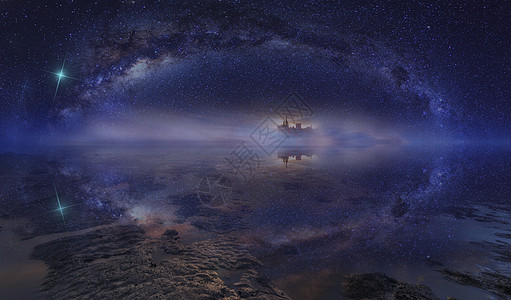 星空下的船图片