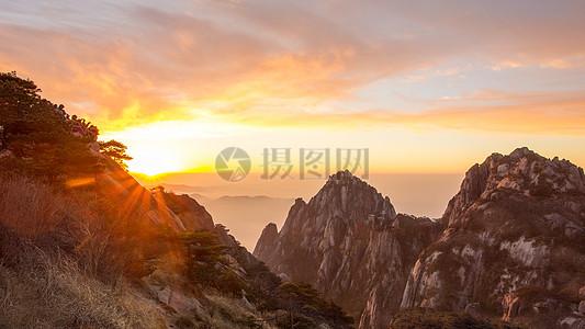 日出黄山图片