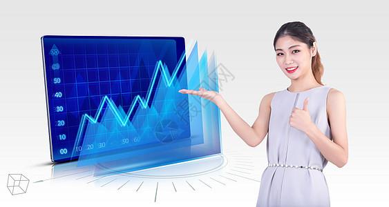 美女展示业绩图表及数据信息图片