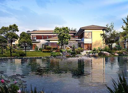 优雅的湖泊别墅效果图图片