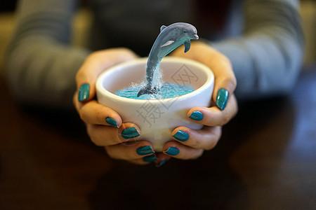 咖啡杯里的海豚图片