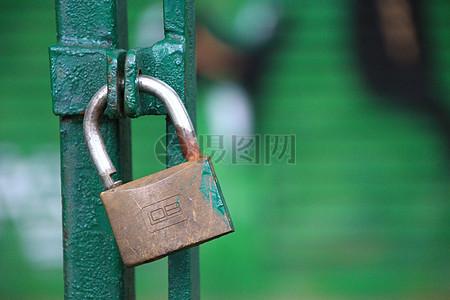 铁门上的铜锁图片
