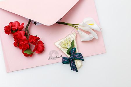 信封和花图片