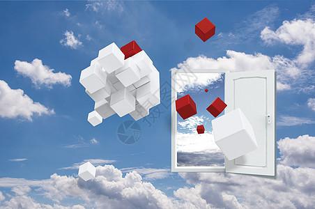 蓝天白云上的创意门图片