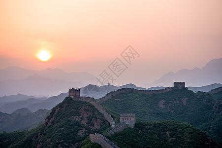日落的长城图片