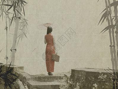 竹林小道上打扇穿旗袍的美女图片