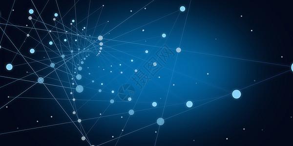 蓝色抽象点线科技背景图片
