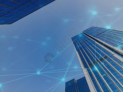 蓝天白云下的城市线条图片