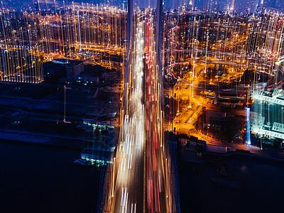 南浦大桥城市夜景灯光虚化图片