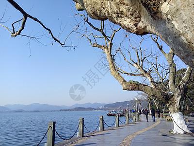 冬日西湖湖水泛舟湖上图片