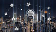 蓝色科技城市背景图片