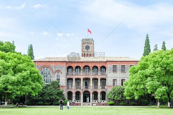 校园清新阳光明媚的草地图片
