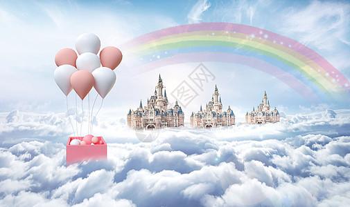 云层上的热气球520情人节背景图片