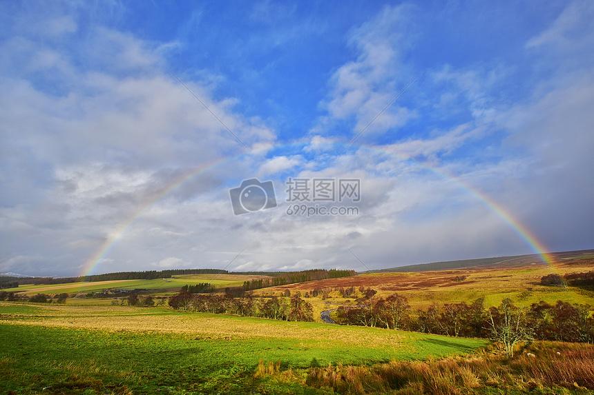 苏格兰雨后彩虹摄影图片免费下载_自然/风景图库大全
