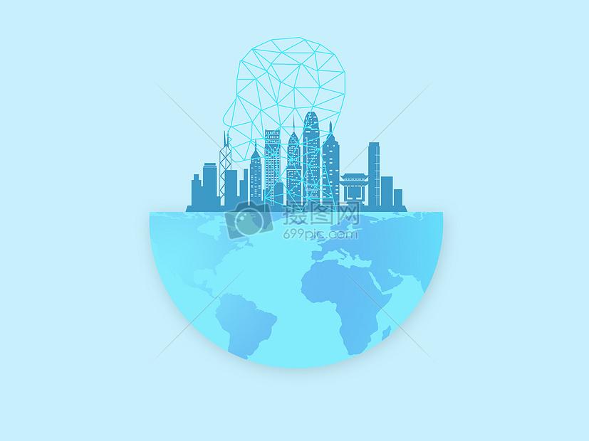 城市智能技术人工智能蓝色背景下的科技城市地球图片蓝色背景下的科技