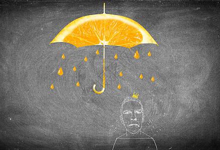 被橙子雨水打湿头发的男人图片