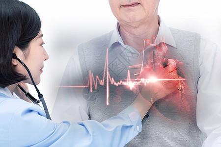医生用听诊器为病人检查图片