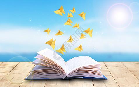 纸张从书中飞出来图片