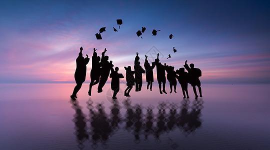 毕业季抛学士帽人物剪影图片
