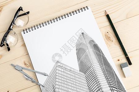 本子上的建筑图稿图片