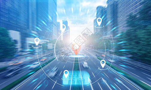 蓝色科技背景飞速的街道图片
