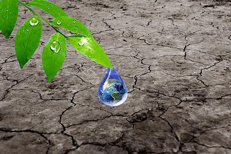 干枯土壤上的一滴水图片