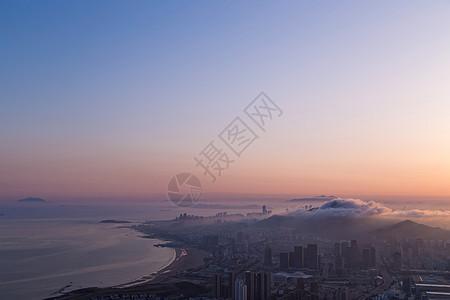 海边城市日落高清图片