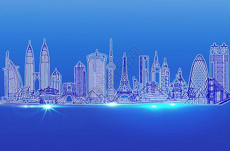 手绘蓝色城市图片