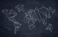 黑板上的世界地图图片