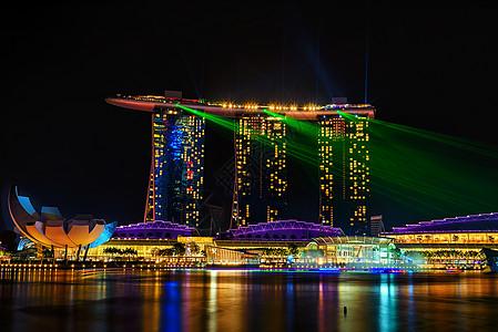 新加坡金沙酒店镭射夜景图片