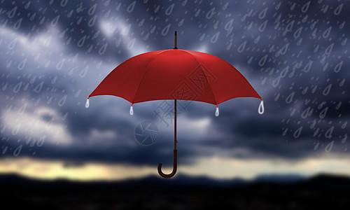 雷雨天中的红雨伞图片