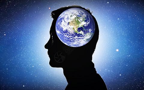 智能科技时代商务男士地球剪影图片