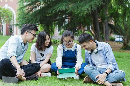男女大学生们坐草地上聊天休息图片