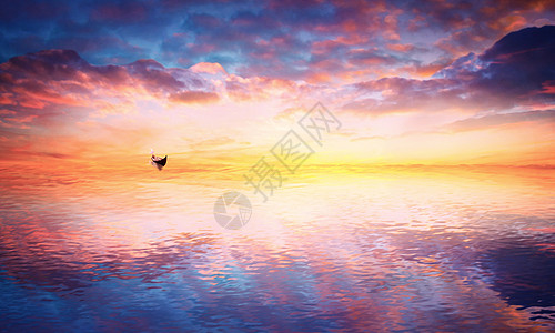 梦幻湖泊上的一只小船图片