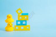 小黄鸭积木海报素材图片