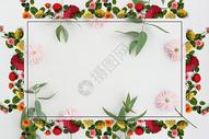小清新鲜花边框背景图片