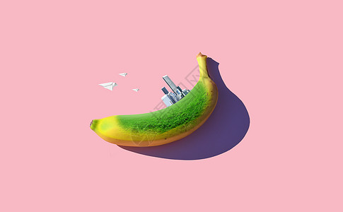 绿色建筑与香蕉图片