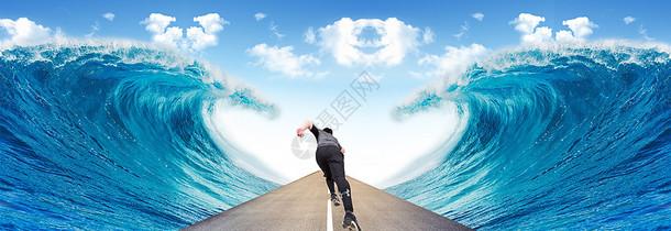 在风浪中奔跑图片