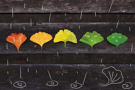 树叶遇到下雨时的表情图片