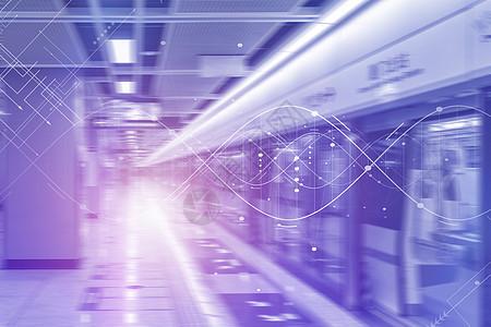 迅速行驶的地铁路线图片