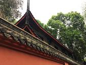 绿树下的古建与红墙图片