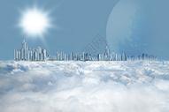 云层上的高楼大厦图片