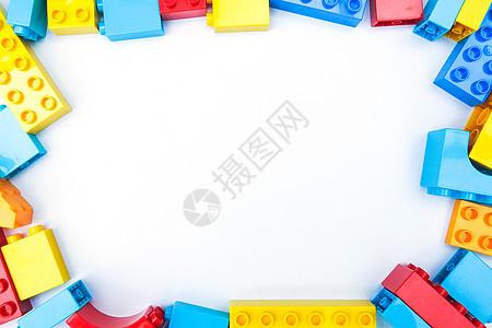 白底彩色积木创意拼撘边框图片